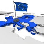 3D map of European Union with flag and EU countries highlighted in blue. Elements of this image furnished by NASA